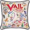 Catstudio Ski Vail Handmade Embroidered Pillow