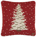 Christmas Snow Tree Hooked Pillow