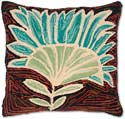 Decorative Hooked Folk Art Flower Pillow