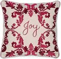 Embroidered Christmas Joy Holiday Pillow
