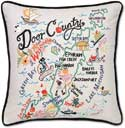 Embroidered Handmade Door County Wisconsin Pillow