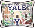 Embroidered Ivy League Collegiate Yale Pillow