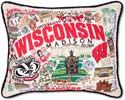 Embroidered University of Wisconsin Pillow