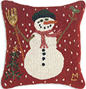 Frosty Snowman Hooked Christmas Pillow