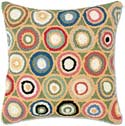 Geometric Circles Handmade Hooked Pillow