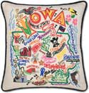 Giant Decorative Handmade Geography Iowa Pillow