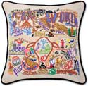 Giant Embroidered Fort Worth Texas Handmade Pillow