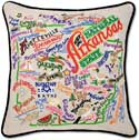 Giant Embroidered Handmade Arkansas Geography Pillow