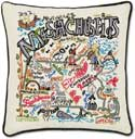 Giant Embroidered Handmade Geography Massachusetts Pillow