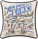 Giant Embroidered Handmade Great Lakes Michigan Pillow