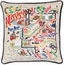 Giant Embroidered Mississippi Handmade Geography Pillow