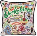 Giant Handmade Berkshires Massachusetts Embroidered Pillow