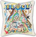Giant Handmade Block Island Embroidered Pillow