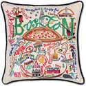 Giant Handmade Boston Embroidered Geography Pillow