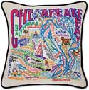 Giant Handmade Chesapeake Bay Embroidered Pillow
