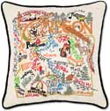 Giant Handmade Embroidered Geography Oregon Pillow
