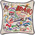 Giant Handmade Embroidered Idaho Geography Pillow