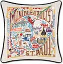 Giant Handmade Embroidered Minneapolis St Paul Pillow