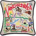 Giant Handmade Embroidered Nebraska Geography Pillow