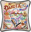 Giant Handmade Embroidered North Dakota Pillow