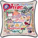 Giant Handmade Embroidered Ohio Geography Pillow