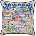 Giant Handmade Embroidered Savannah Georgia Pillow