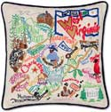Giant Handmade Embroidered West Virginia Pillow