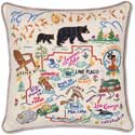 Giant Handmade Geography Adirondacks Mountains Pillow