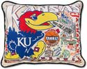Giant Handmade Jayhawks Kansas University Embroidered Pillow