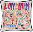 Giant Handmade London England Embroidered Geography Pillow