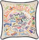 Giant Handmade Los Angeles Embroidered Pillow