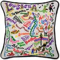 Giant Handmade Louisiana Embroidered Geography Pillow