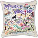 Giant Handmade Marthas Vineyard Embroidered Pillow