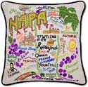 Giant Handmade Napa Valley Embroidered Pillow