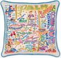 Giant Handmade Palm Beach Florida Embroidered Pillow