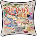 Giant Handmade Rome Roma Italy Embroidered Pillow