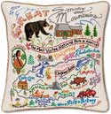 Giant Handmade Smoky Mountains Embroidered Pillow