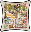 Giant Handmade Wyoming Embroidered Geography Pillow