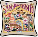 Giant San Antonio Texas Handmade Embroidered Pillow