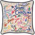 Giant South Carolina Embroidered Geography Pillow