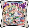 Hand Embroidered Louisiana New Orleans Pillow
