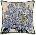 Handmade Agapanthus Flower Needlepoint Pillow