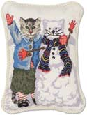 Handmade Christmas Snow Cat Needlepoint Pillow