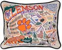 Handmade Clemson University Embroidered Pillow