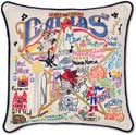 Handmade Dallas Texas Embroidered Pillow