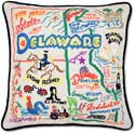 Handmade Delaware Embroidered Geography Pillow