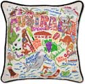 Handmade Embroidered Australia Geography Pillow
