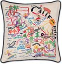 Handmade Embroidered California Geography State Pillow
