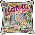 Handmade Embroidered Geography Charlotte Pillow