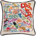 Handmade Embroidered Geography San Diego Pillow